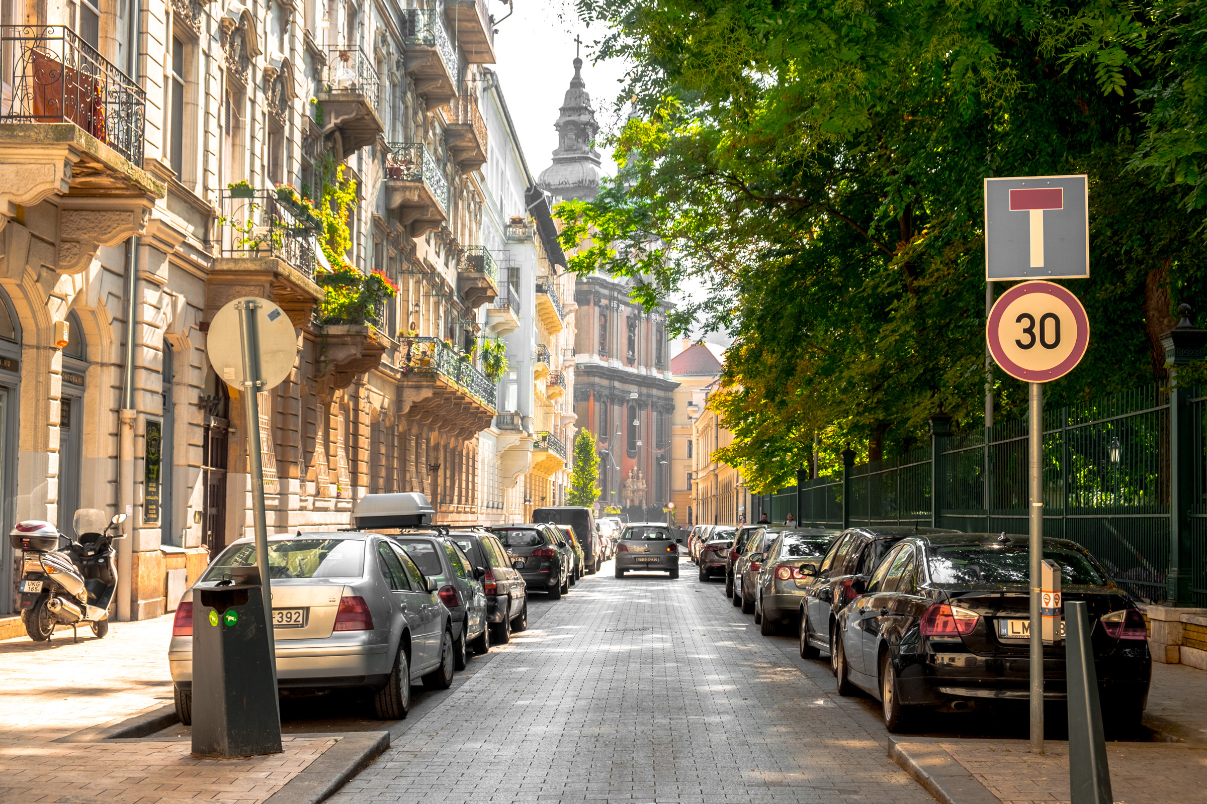 Sunny Street in Budapest, Hungary